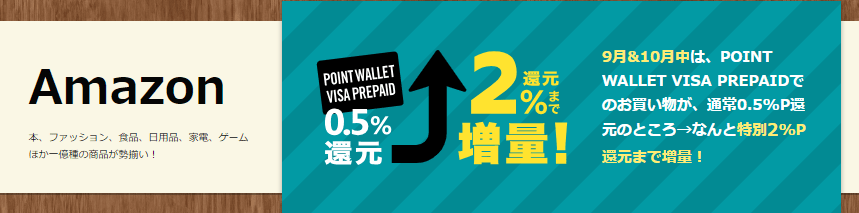 POINT WALLET VISA PREPAID利用Amazon2%増量