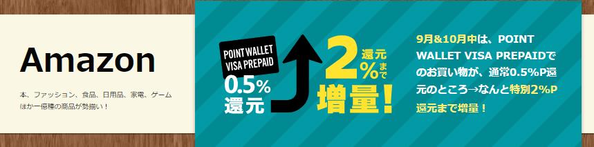 POINT WALLET VISA PREPAID利用Amazon2%増量